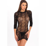 Exotic Geometry Mini Dress Black